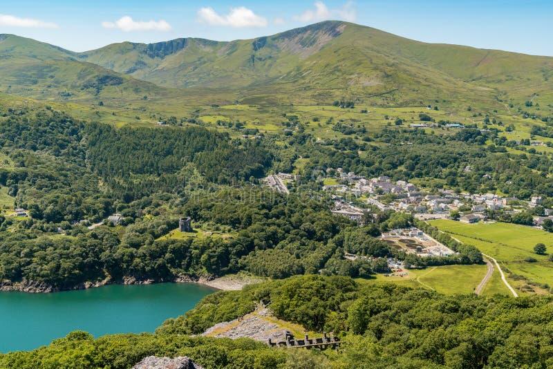 Llanberis, Gwynedd, Wales, UK. View from Dinorwic Quarry, Gwynedd, Wales, UK - with Llanberis in the background royalty free stock photos
