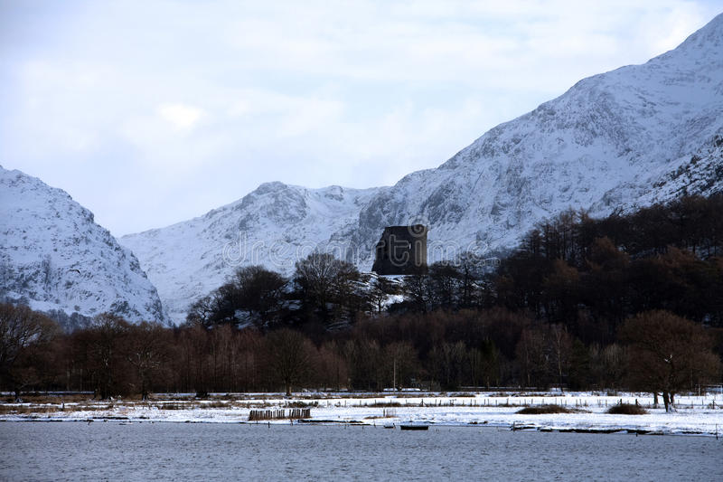 Llanberis and Llyn Padarn. In winter with snow on the ground Snowdonia Wales royalty free stock photography