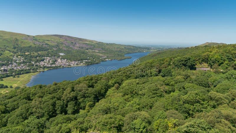 Llanberis and Llyn Padarn, Gwynedd, Wales, UK. View from Dinorwic Quarry, Gwynedd, Wales, UK - with Llanberis in the background stock images