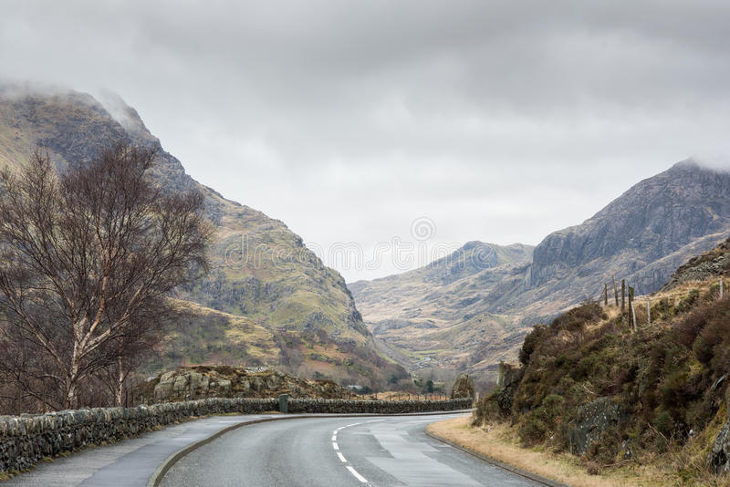 Llanberis pass. The road which bends its way through the pass of Llanberis from the town of that name to the mountain Snowdon, Wales.l royalty free stock photos