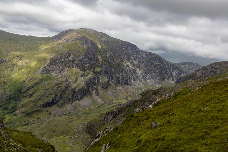 Llanberis Pass in Snowdonia. View down into the Llanberis Pass from the Snowdon railway royalty free stock photo