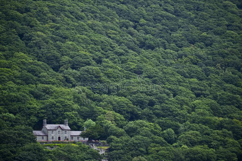Llanberis slate museum. Photographed from across the lake at llanberis, the slate museum appears nestled amongst a landscape of trees stock photos