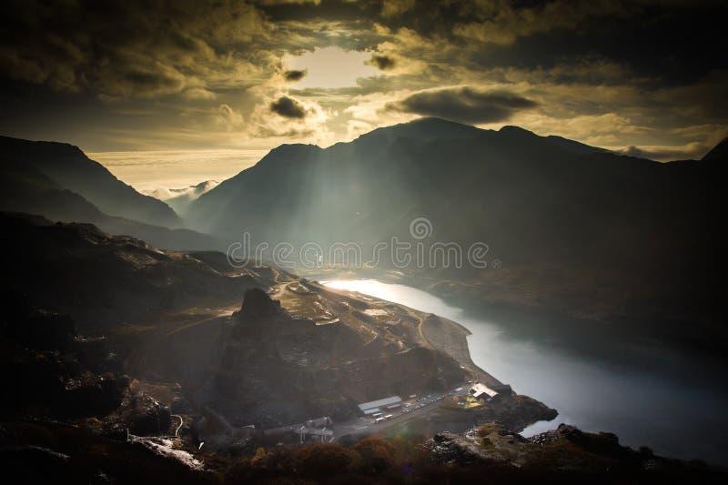Llanberis Sunbeams. Looking down into Llanberis valley and Llyn Peris stock photo
