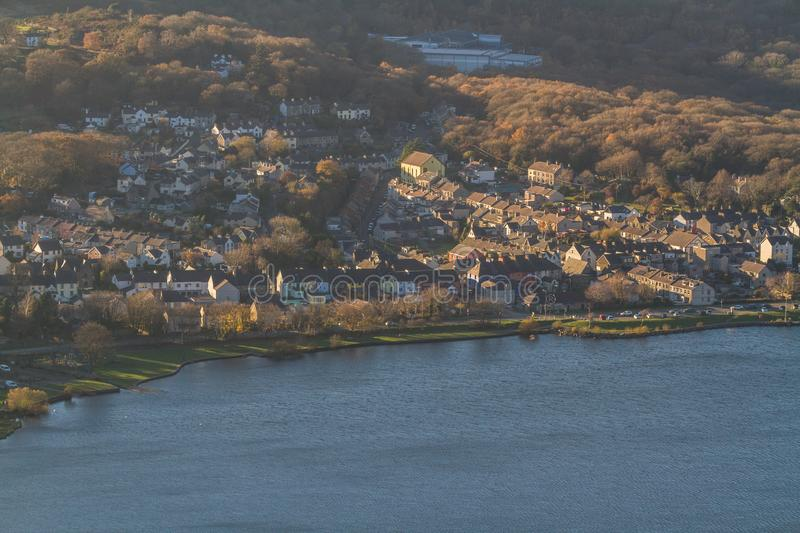 Llanberis village taken from above on mountainside. Looking down on village of Llanberis, Snowdonia, North Wales royalty free stock photo