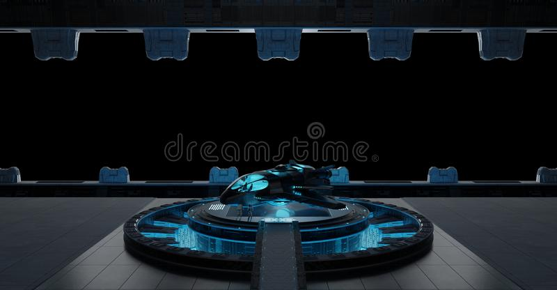Llanding小条在黑背景隔绝的太空飞船内部3 库存例证