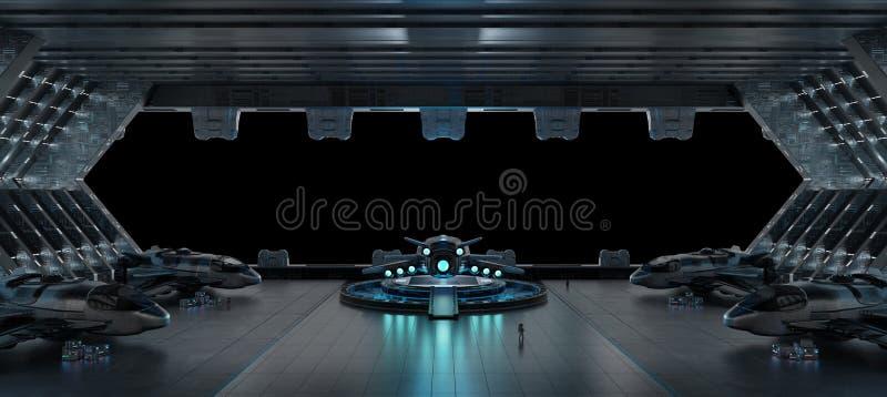 Llanding-Streifen-Raumschiffinnenraum lokalisiert auf schwarzem Hintergrund 3 stock abbildung