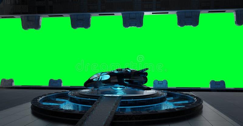 Llanding strip spaceship interior on green background 3 vector illustration