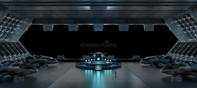 Llanding strip spaceship interior isolated on black background 3 stock illustration
