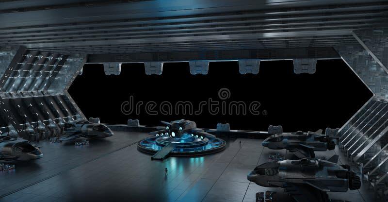 Llanding strip spaceship interior isolated on black background 3 vector illustration