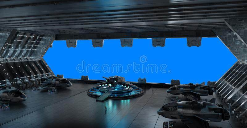 Llanding strip spaceship interior isolated on blue background 3D rendering stock illustration