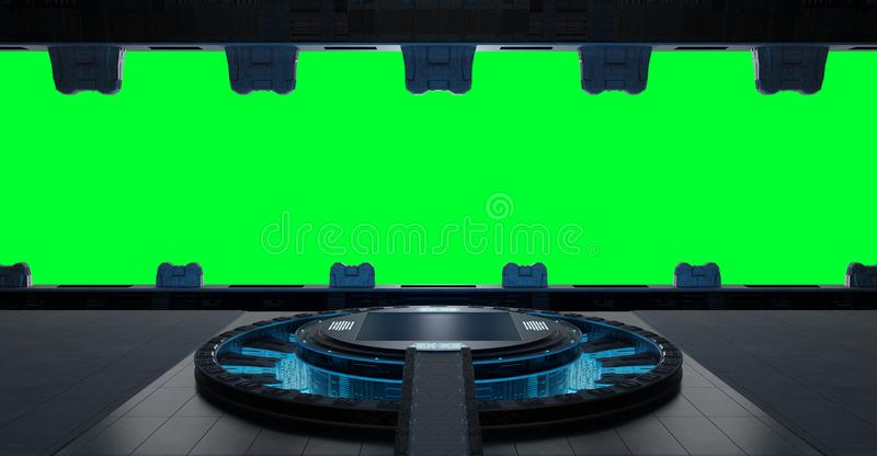 Llanding strip spaceship interior isolated on green background 3 stock illustration