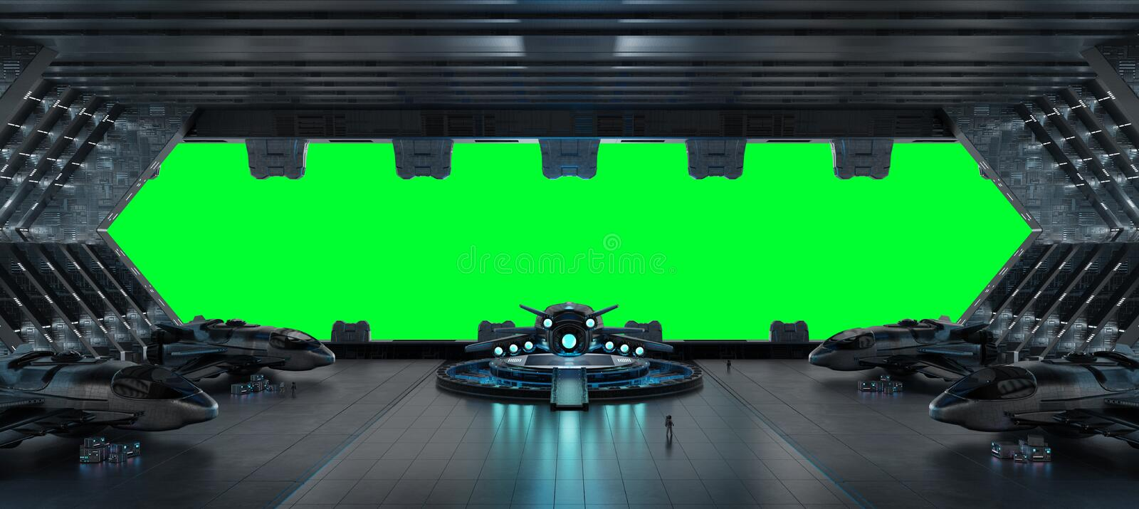 Llanding strip spaceship interior isolated on green background 3 royalty free illustration