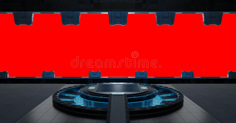 Llanding strip spaceship interior isolated on red background 3D vector illustration