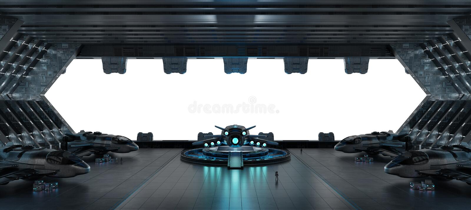 Llanding strip spaceship interior isolated on white background 3 royalty free illustration