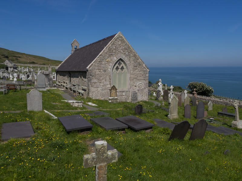 Llandudno, Noord-Wales - kerkhof en kerk royalty-vrije stock afbeelding