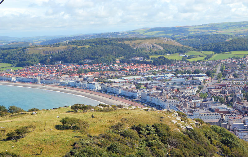 Llandudno sea front and town from above. stock image