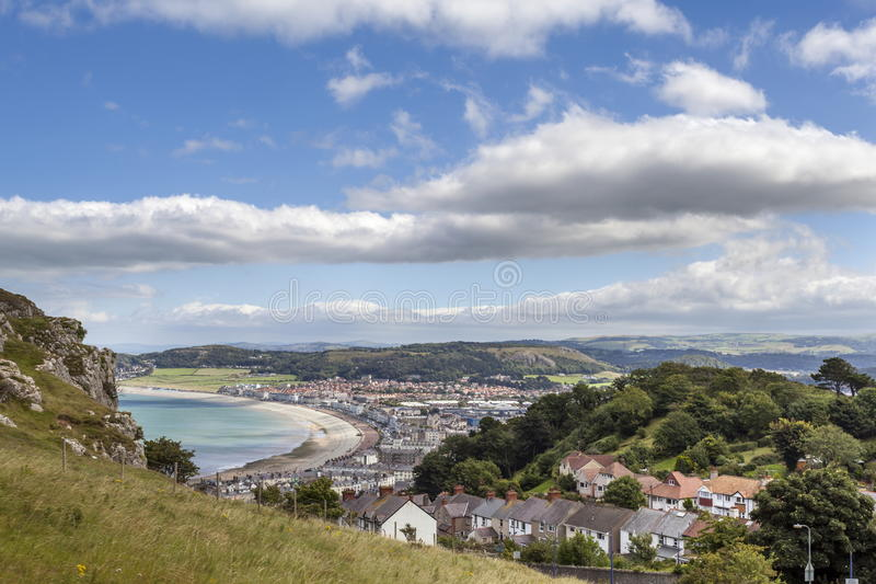 Llandudno. View of Llandudno from the Tram as it ascends the Great Orme stock image