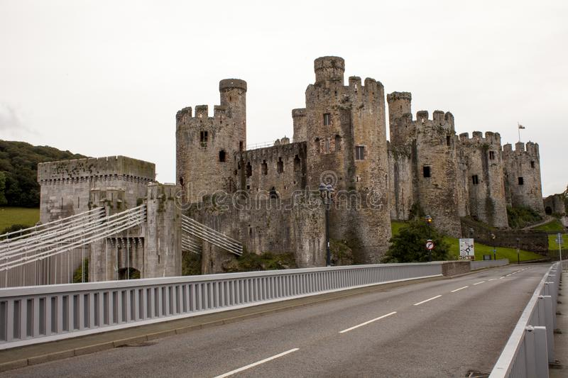 LLandudno, Wales, UK - MAY 27, 2018 Castle by the road. Midieval castle in the countryside. Castle overlooking the road,ruins, art royalty free stock photo
