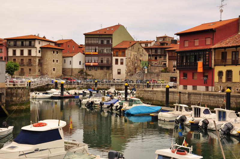 Llanes, Asturias, Spain. Marina. Pleasure harbor in the old town of Llanes. Spanish northern coast stock photography