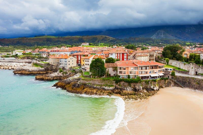 Llanes beach aerial view, Spain royalty free stock photo