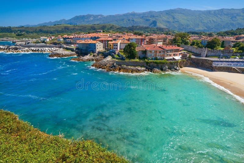 Llanes El Sablon beach in Asturias Spain. Llanes El Sablon beach in Asturias of Spain stock images