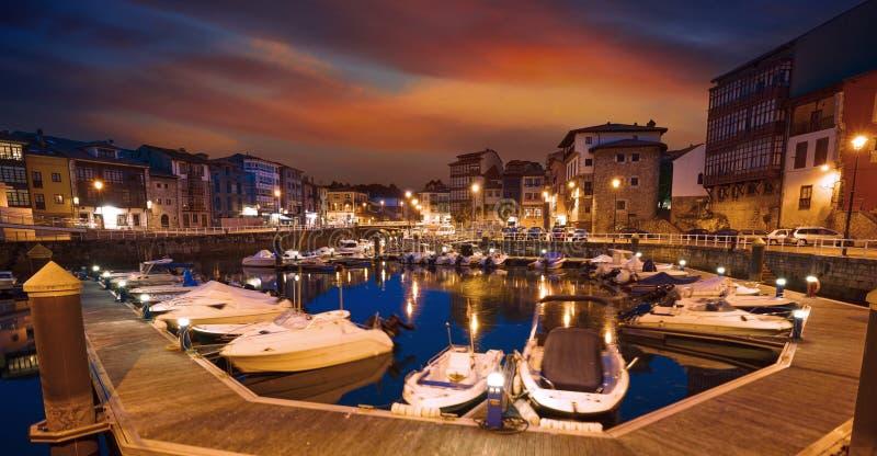 Llanes marina port sunset in Asturias Spain. Llanes marina port sunset in Asturias of Spain stock image