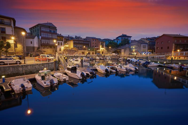 Llanes marina port sunset in Asturias Spain. Llanes marina port sunset in Asturias of Spain stock photography