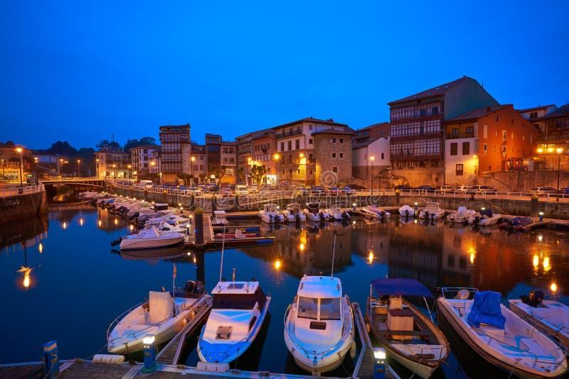 Llanes marina port sunset in Asturias Spain. Llanes marina port sunset in Asturias of Spain royalty free stock images