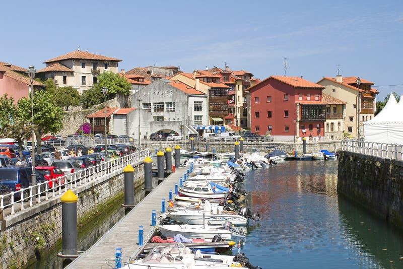 Llanes, Spain. Harbor of Llanes, Asturias, Spain stock images