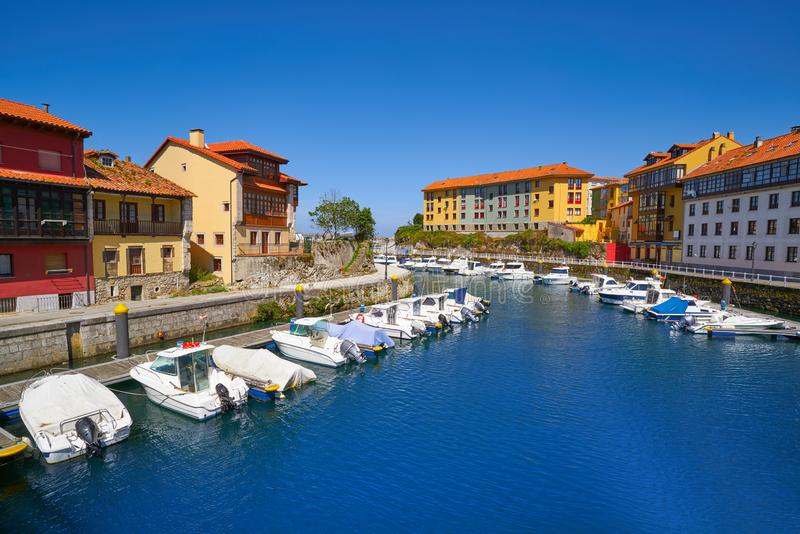 Llanes village port marina in Asturias Spain. Llanes village port marina in Asturias of Spain stock image