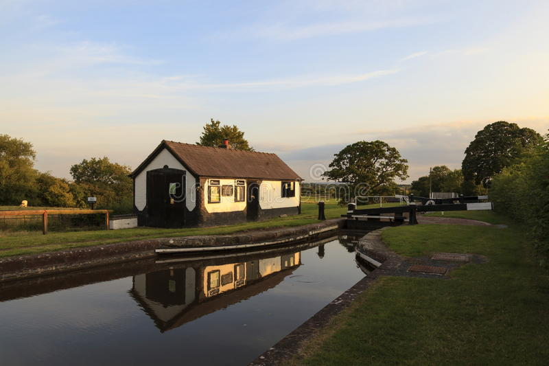Llangollen Canal. Frankton Locks on the Montgomery branch of the Llangollen Canal stock photo