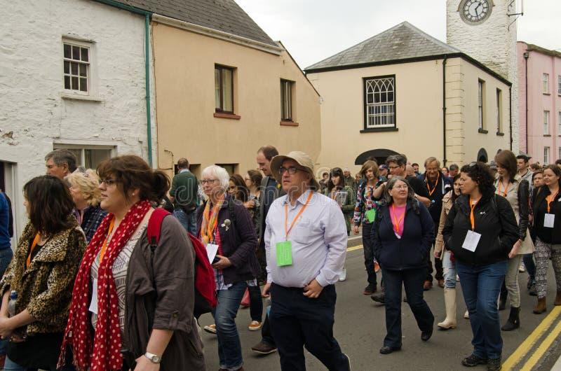 Llareggub audience in Laugharne stock photo