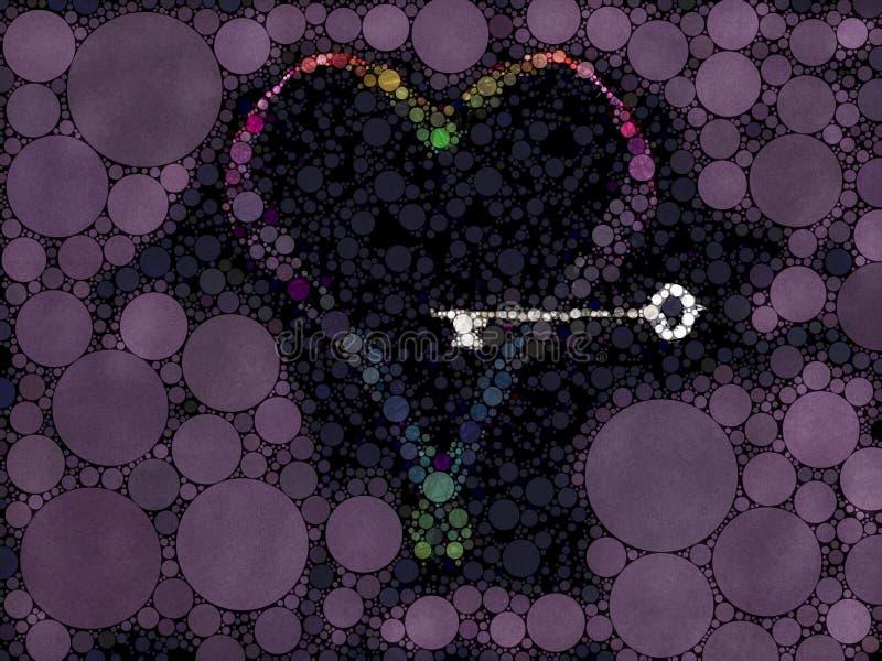 Llave abstracta a un fondo texturizado mosaico del corazón libre illustration