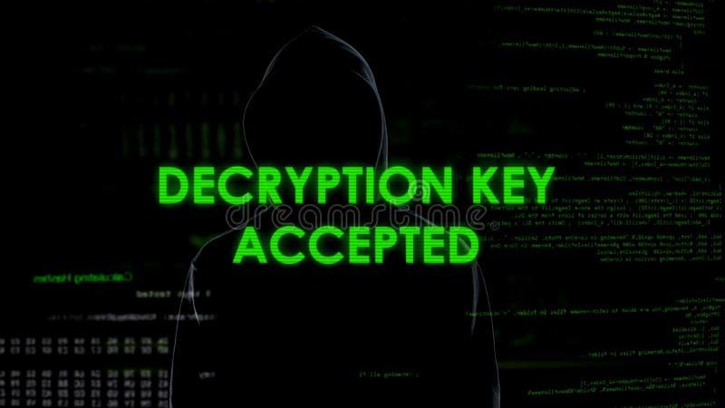 Llave aceptada, contraseña del desciframiento del hallazgo del pirata informático para enviar por correo electrónico con datos se fotografía de archivo libre de regalías