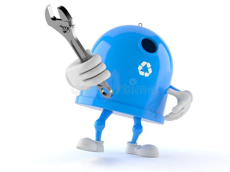 Llave ajustable de sujeción del carácter de la papelera de reciclaje ilustración del vector