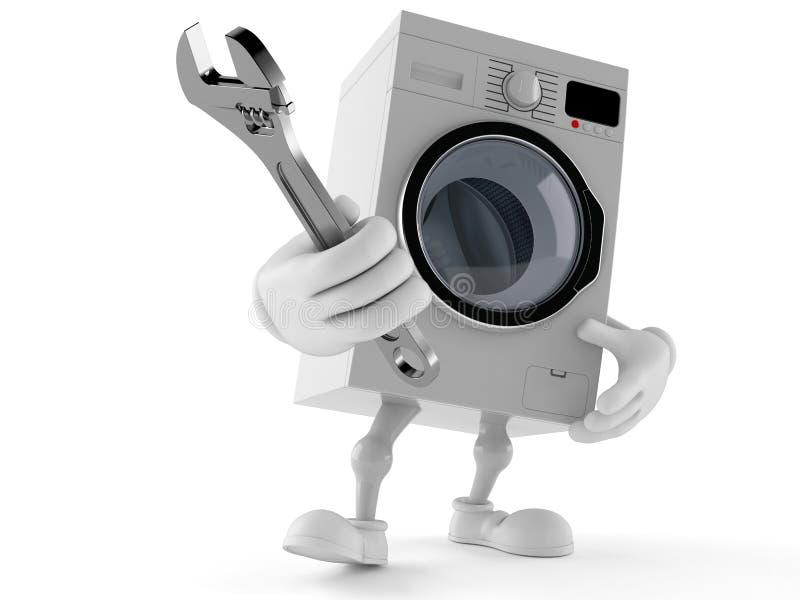 Llave ajustable del carácter de la lavadora ilustración del vector