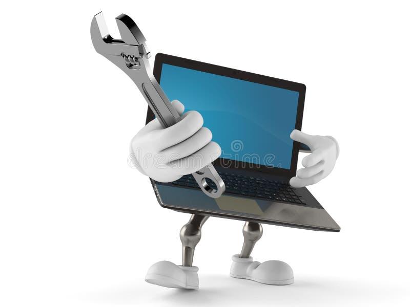 Llave ajustable del carácter del ordenador portátil ilustración del vector