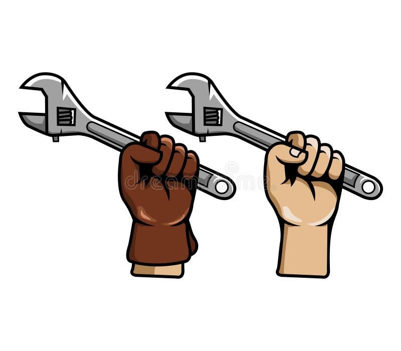 Llave ajustable del gancho agarrador de la mano ilustración del vector