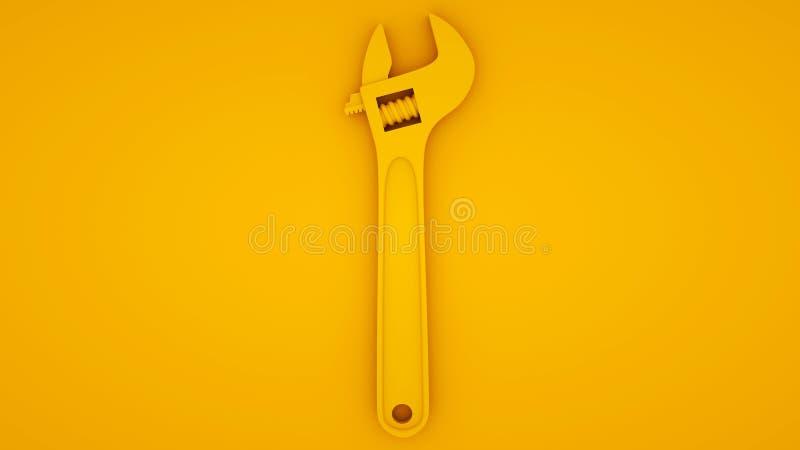 Llave ajustable sobre fondo amarillo Concepto de idea mínima, ilustración 3d libre illustration