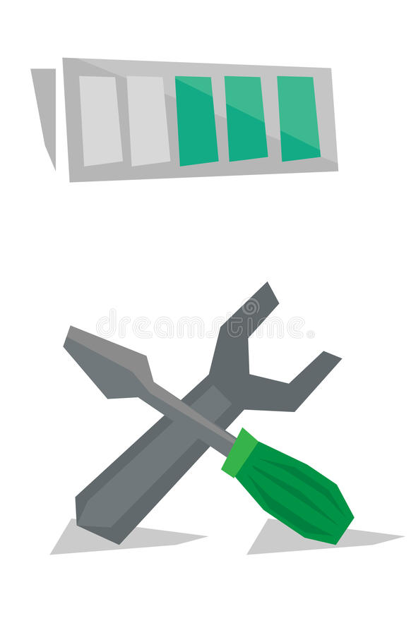 Llave con destornillador y la batería sobre ellos stock de ilustración
