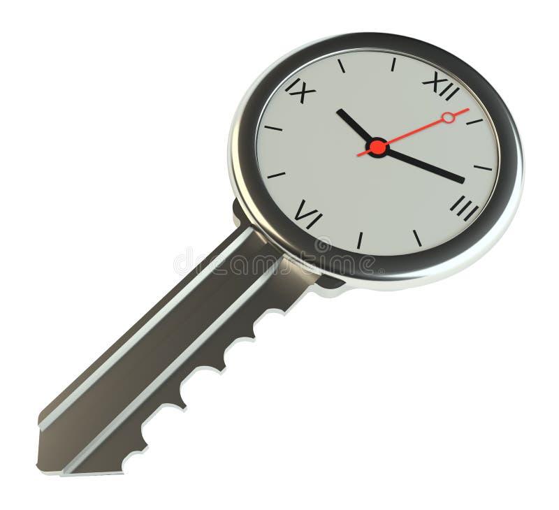 Llave con el reloj Concepto del éxito o concepto de ventas de la vivienda ilustración del vector
