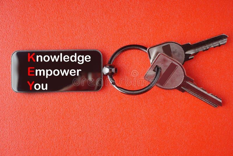 Llave con palabra en fondo rojo, fotos de archivo libres de regalías