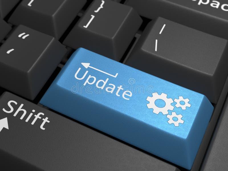 Llave de la actualización de software en el teclado imagenes de archivo