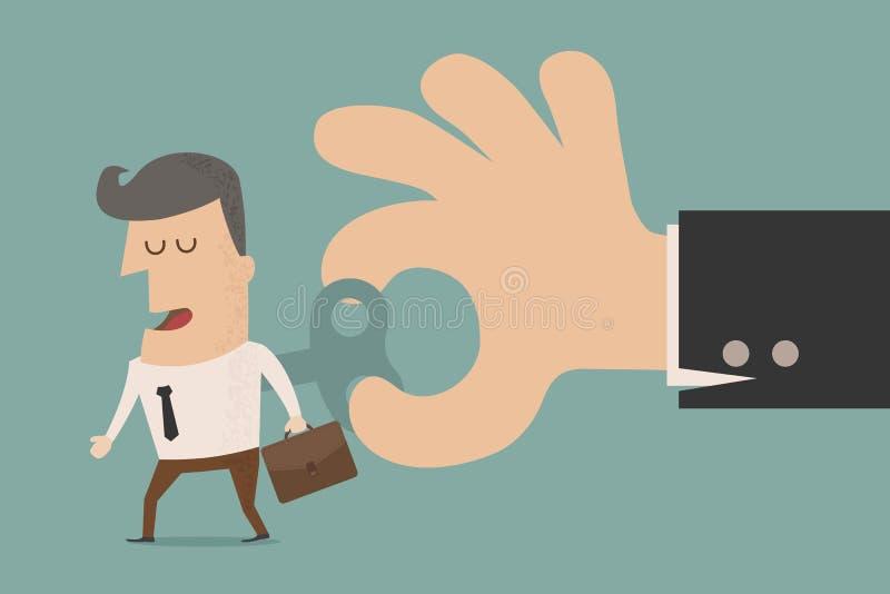 Llave de la conclusión de With del hombre de negocios en el suyo detrás stock de ilustración