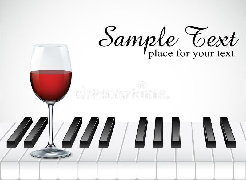 Llave de la copa de vino y del piano en el fondo blanco libre illustration