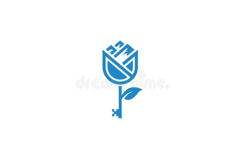 Llave de la montaña de la flor del logotipo libre illustration