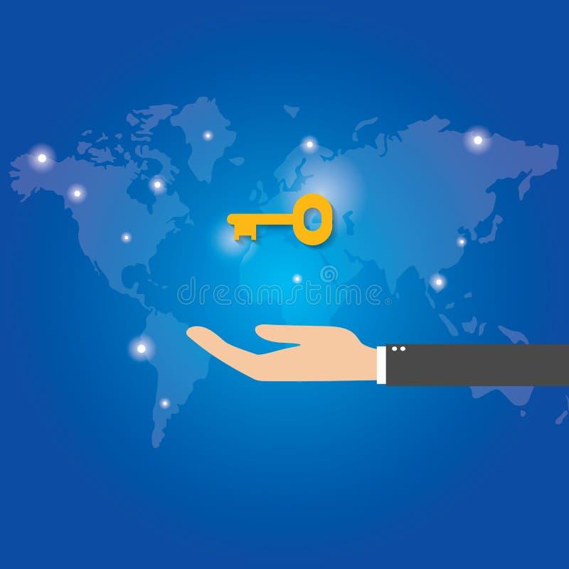 Llave de la oferta del hombre de negocios al éxito Solución y servicios de llavero concepto, vector ilustración del vector