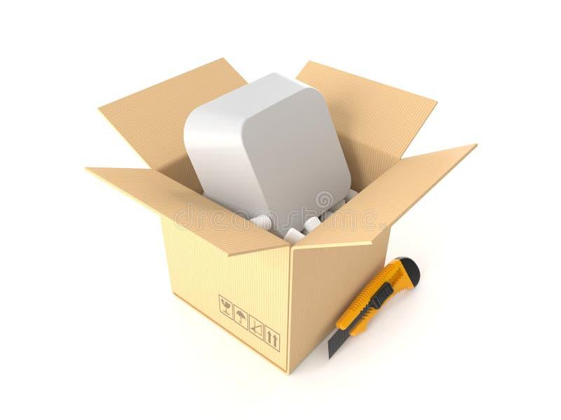 Llave de ordenador dentro del paquete stock de ilustración
