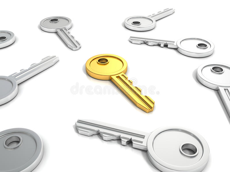 Llave de oro acertada en otras llaves metálicas ilustración del vector