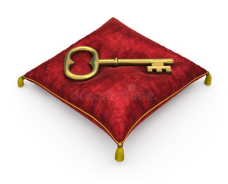 Llave de oro en la almohada roja real del terciopelo aislada en el backgrou blanco libre illustration